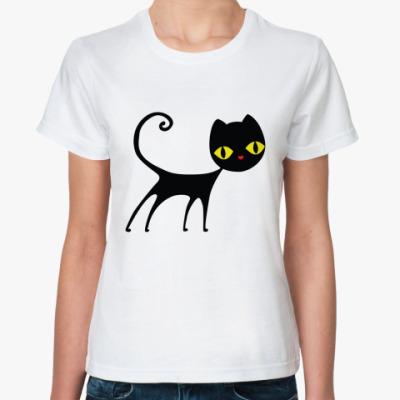 Классическая футболка   Черный кот