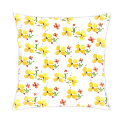 Подушка Акварельные цветы