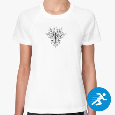 Женская спортивная футболка Руна Альгиз и черный лис
