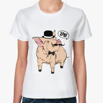 Классическая футболка Свин в цилиндре