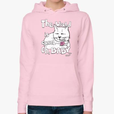 Женская толстовка худи Мудрый котик с улиткой