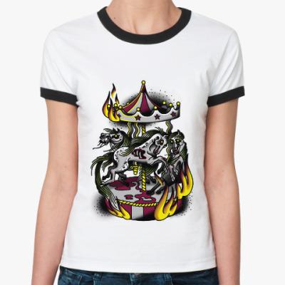 Женская футболка Ringer-T zombie horses