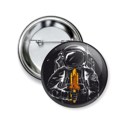 Значок 50мм Космонавт с мороженкой