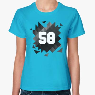 Женская футболка Цифра 58 (Low Poly)