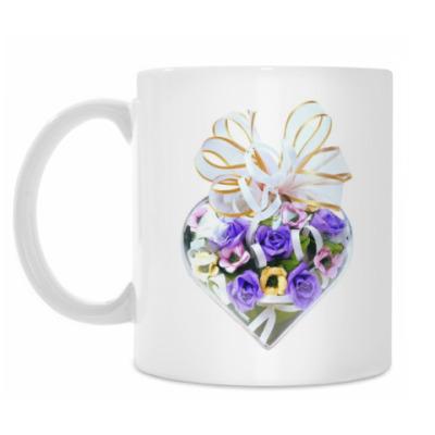 Кружка Сердце с цветами в подарок