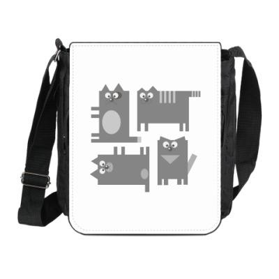 Сумка на плечо (мини-планшет) Коты