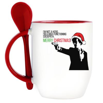 Кружка с ложкой Merry christmas from Sherlock