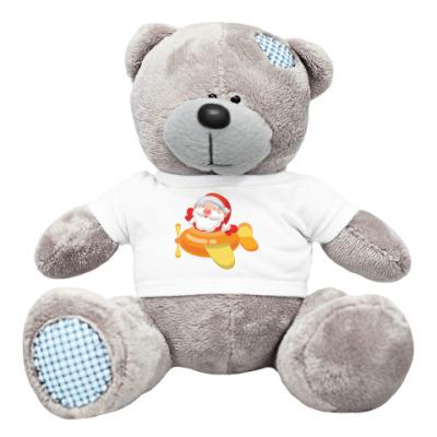 Плюшевый мишка Тедди Дед Мороз к нам мчится