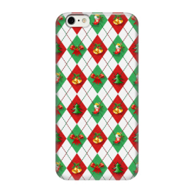 Чехол для iPhone 6/6s Новогодние колокольчики и елочки