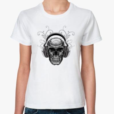 Классическая футболка череп в наушниках
