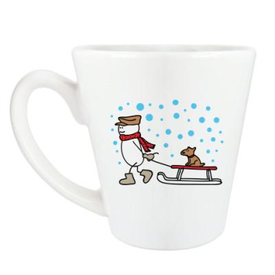 Чашка Латте Снеговик и Собака в Новый год