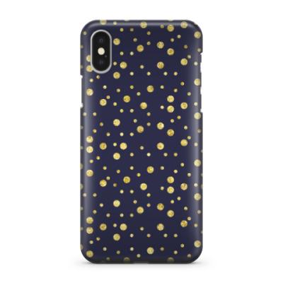 Чехол для iPhone X Золотые горошины
