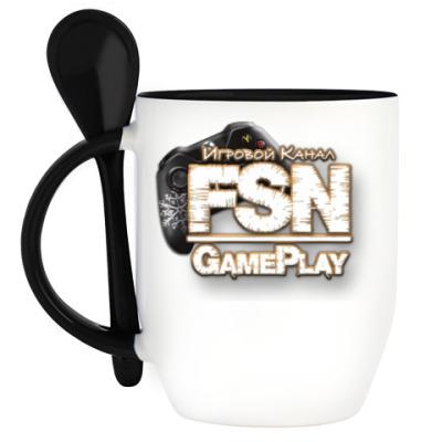 Кружка с ложкой «GamePlayFSN»