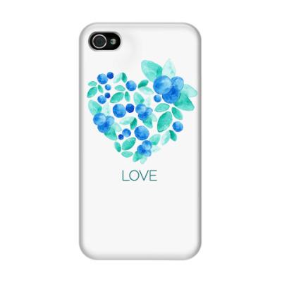 Чехол для iPhone 4/4s Акварель сердце из голубики
