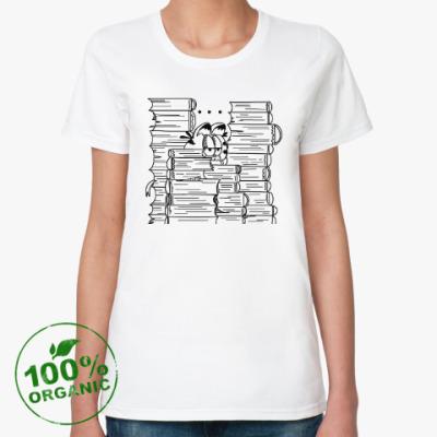 Женская футболка из органик-хлопка Гарфилд в книгах
