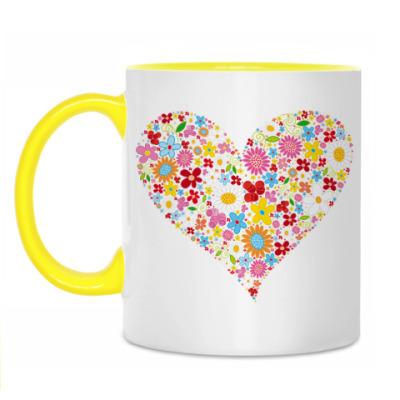 Кружка Сердце и Цветы