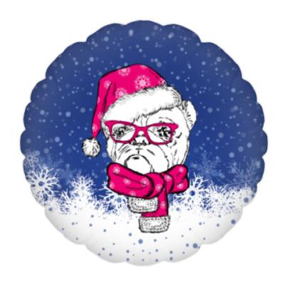 Подушка Бульдог Санта