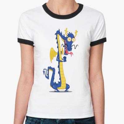 Женская футболка Ringer-T Восточный дракон