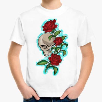 Детская футболка череп и розы
