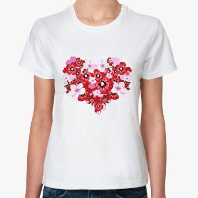Классическая футболка Цветочное сердце