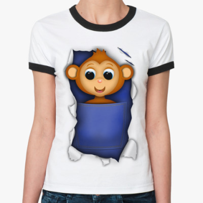 Женская футболка Ringer-T Обезьянка