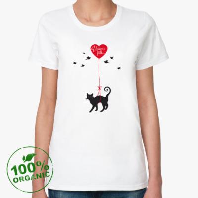Женская футболка из органик-хлопка Кот и сердце