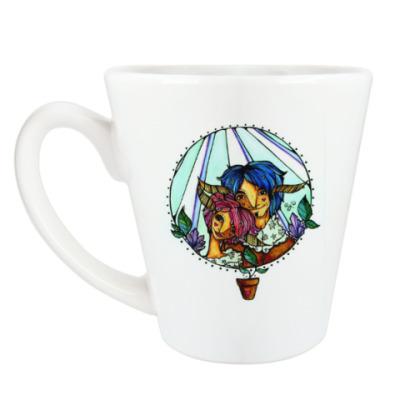 Чашка Латте Пара с розово-голубыми волосам