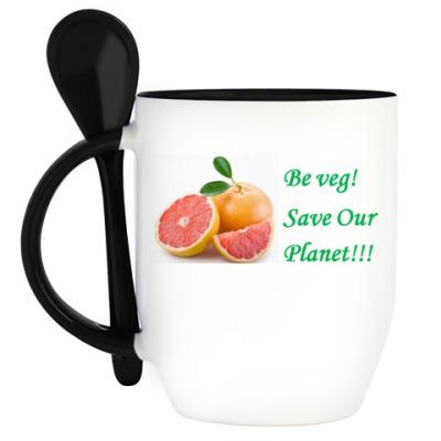 Кружка с ложкой Грейпфрут для вегана