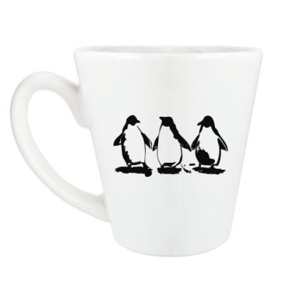 Чашка Латте Три пингвина