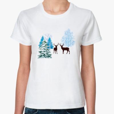 Классическая футболка Зимние олени