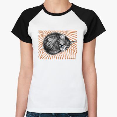 Женская футболка реглан На душе кошки мурчат
