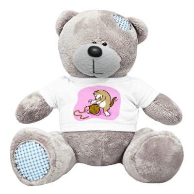 Плюшевый мишка Тедди Кот с клубочком