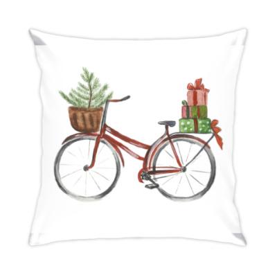 Подушка Красный рождественский велосипед