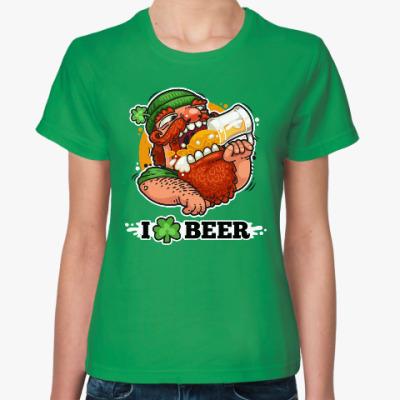 Женская футболка Я люблю Пиво (I love Beer)