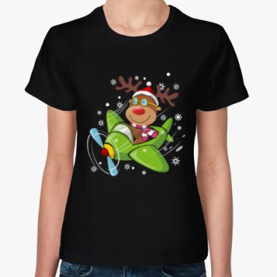 Женская футболка Олени. Рождество. Новый год.