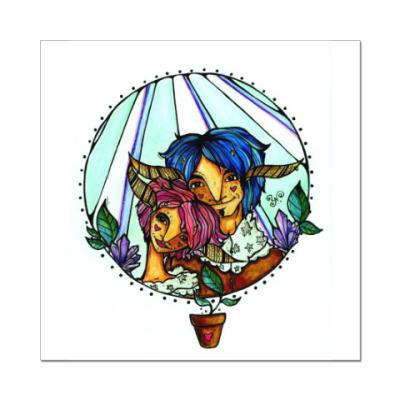 Наклейка (стикер) Пара с розово-голубыми волосам