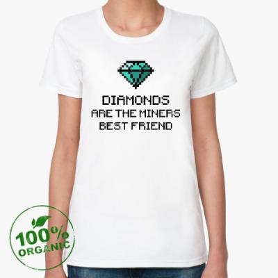 Женская футболка из органик-хлопка Minecraft - diamonds