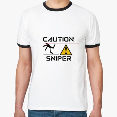 Футболка Ringer-T Caution sniper