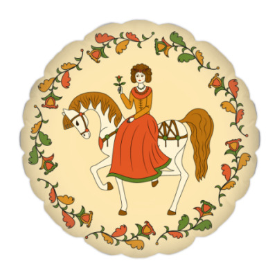 Russian folk ornament. Girl and horse