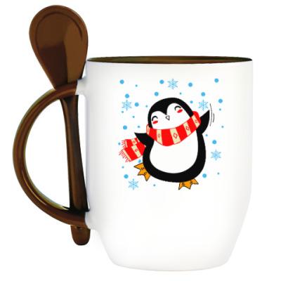 Кружка с ложкой Веселый пингвин