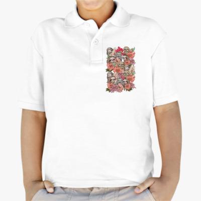 Детская рубашка поло Ленивцы в цветах