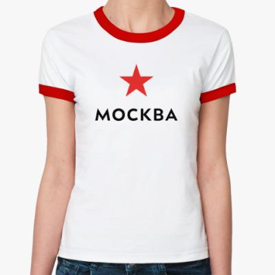 Женская футболка Ringer-T логотип Москвы