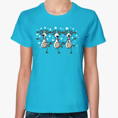 Женская футболка Новогодний танец оленей 2014