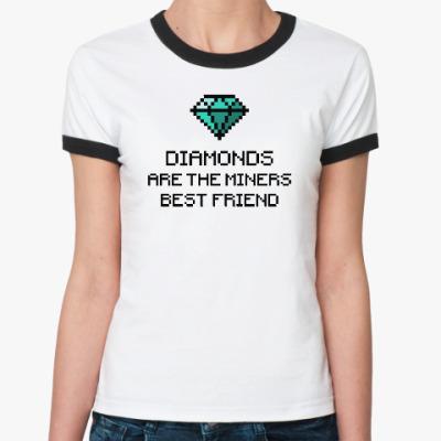 Женская футболка Ringer-T Minecraft - diamonds