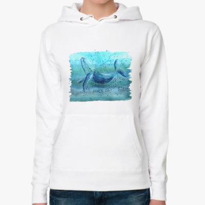 Женская толстовка худи Синий кит