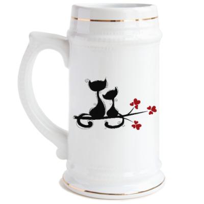 Пивная кружка Любовь и кошки