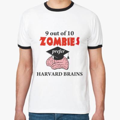 Футболка Ringer-T Harvard brains
