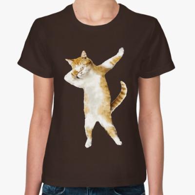 Женская футболка кот