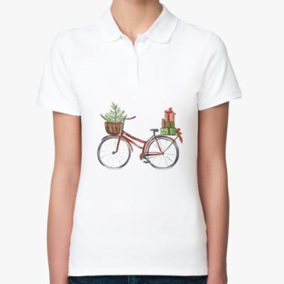 Женская рубашка поло Красный рождественский велосипед