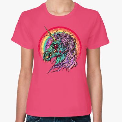 Женская футболка Зомби единорог